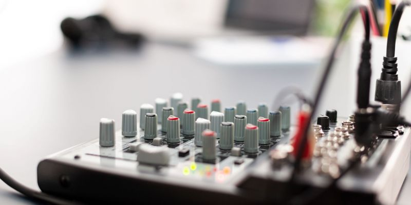 close-up-of-professional-mixer-in-vlogger-home-pod